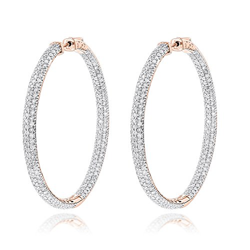 Luxurman 14K Dazzling Natural 7 Ctw Diamond Hoop Inside Out Earrings (Rose Gold)