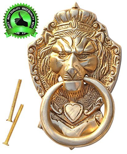 PRACTICAL PRODUCT - SouvNear 6 Lion Door Knocker with Hardware Large Antique Finish Lion Head Door Heavy Duty Brass Knocker - Thanksgiving Home Door Decor by SouvNear by SouvNear