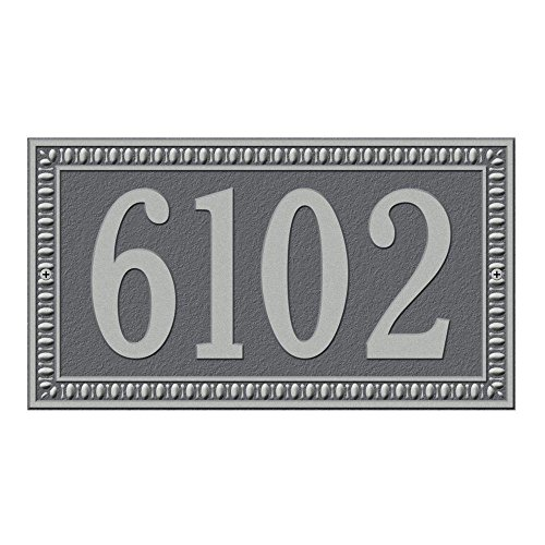 Whitehall Products Egg and Dart Rectangular Pewter/Silver Standard Wall One Line Address Plaque