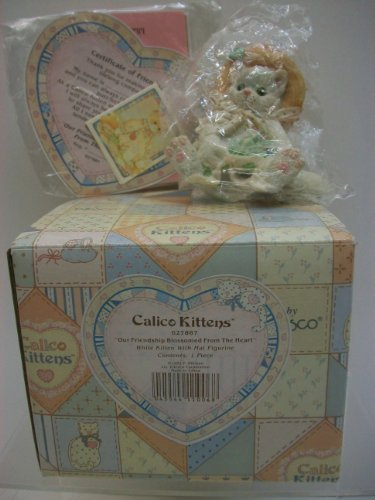 Enesco Calico Kittens Figurine Our Friendship Blossomed from The Heart