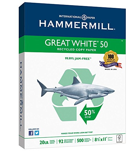 Copy Recycled Paper (Hammermill Paper, Great White 50% Recycled Copy Paper, 20lb, 8.5 x 11, Letter, 92 Bright, 500 Sheets/1 Ream (086780), Made In The USA)