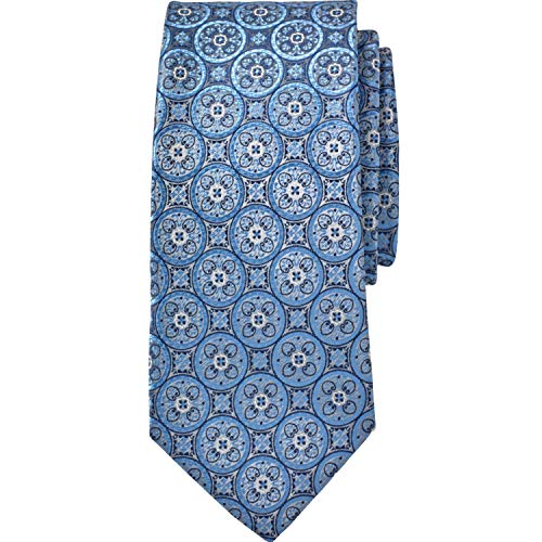 - Kingsize Men's Big & Tall Classic Check Tie, Sky Blue Medallion Big-0