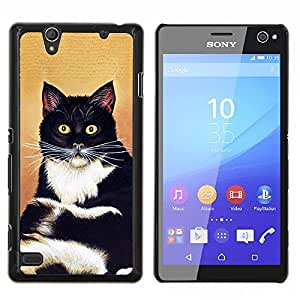 Gato Sentado Bigotes Pelo Corto Negro Blanco- Metal de aluminio y de plástico duro Caja del teléfono - Negro - Sony Xperia C4 E5303 E5306 E5353