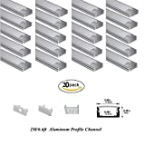 Hanks 20Pack 2M/6.6ft 17.5x7mm Surface Mounted LED Aluminum Profile With Milk Cover End Caps and Mounting Clips Aluminum Channel for Width <12mm Strip Light (20X2M Milk)