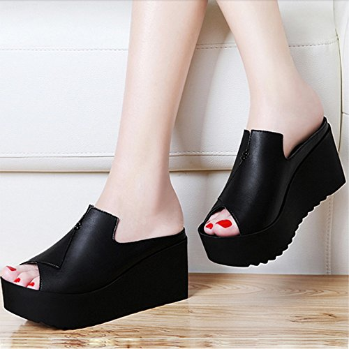 FEI Mules Women's Slippers Summer New Fashion High-heeled Women's Shoes Korean Wild Thick Slopes Sandals Black White Sandals Casual (Color : White, Size : EU36/UK4/CN36) Black