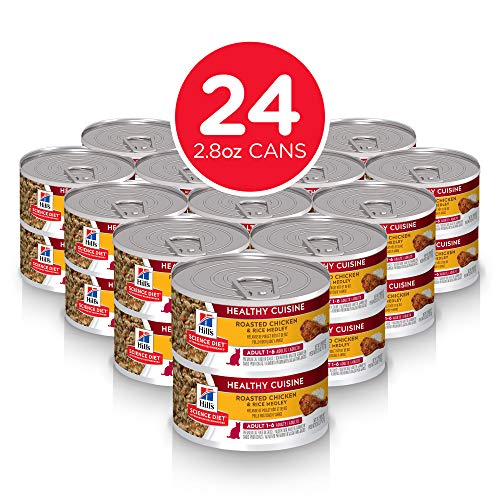 Hill's Science Diet Wet Cat Food, Adult, Healthy Cuisine, Roasted Chicken & Rice for Healthy Weight & Weight Management, 2.8 oz Cans, 24-pack ()
