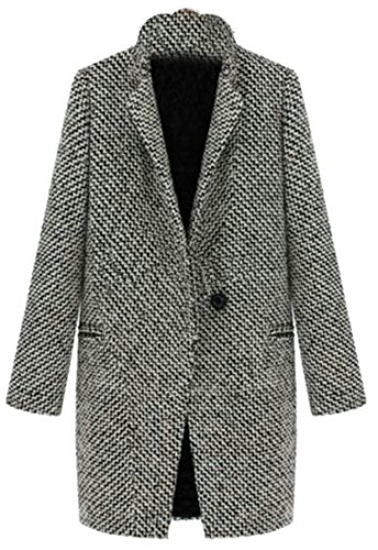 YUNY Womens Casual Tweed One Button Midi Wool Blend Peacoat Jackets Gray XS (Midi Coat)