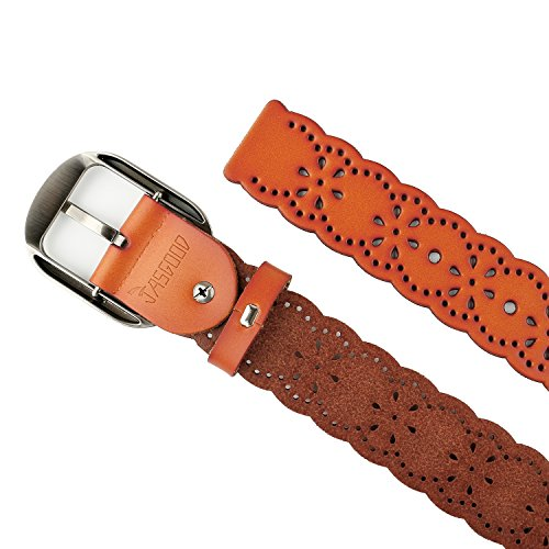 JasGood Fashion Women's Genuine Leather Waist Belt With Alloy Buckle, Brown