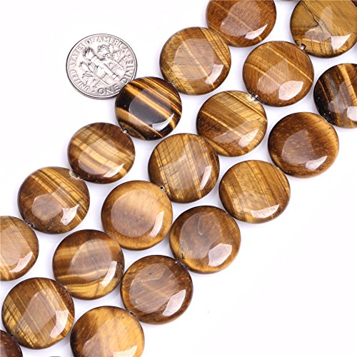 18mm Natural Semi Precious Coin Tiger Eye Gemstone Beads for Jewelry Making Strand 15