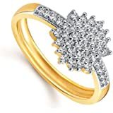 Meenaz 24K Fancy Flower Party Wear Ring Traditional Gold Ring For Girls & Women In American Diamond Cubic Zirconia Ring FR398