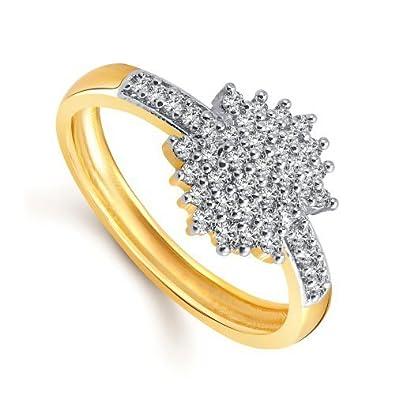 Buy Meenaz 24K Gold In American Diamond Cubic Zirconia Ring For