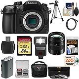 Panasonic Lumix DMC-GH4 4K Micro Four Thirds Digital Camera Body with 12-35mm f/2.8 II Lens + 64GB Card + Battery + Case + Tripod + Flash + Filters Kit