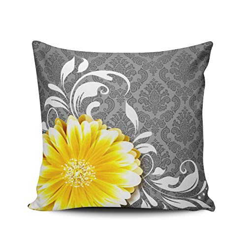 WEINIYA Bedroom Custom Decor Large and Bright Yellow Flower Pillow Cover Case Elegant Design Double Sides Printed Patterning European 26x26 Inches