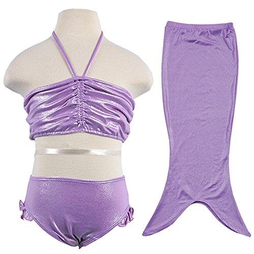 Holiday Swimming Costumes (BAOHULU Girls' Lovely Mermaid Tail Bikini Swim Sets Costumes (6-7Y(Tag No.130), Purple))