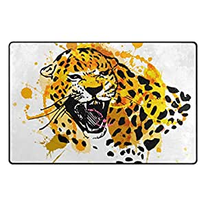 U LIFE Cute Wild Animals Tiger Tropical Oil Painting Large Doormats Area Mats Runner Floor Mat Cover Carpet for Entrance Way Living Room Bedroom Kitchen Office 72 x 48 Inch
