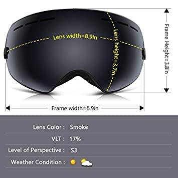 YAKAON Y1 Ski Snowboard Snow Goggles with UV Protection Anti-Fog Spherical OTG Anti-Slip Strap for Men Women