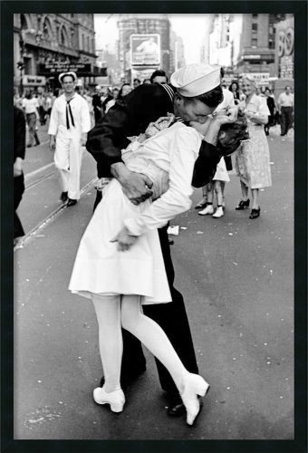 Framed Art Print, 'Kissing on VJ Day - Times Square' by Alfred Eisenstaedt: Outer Size 25 x 37