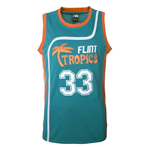 "MOLPE Men's Jackie Moon 33"" Flint Tropics Basketball Jersey S-XXXL Green (L)"