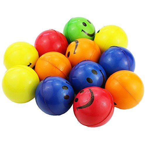 Smiley Stress Ball - Mseeur Neon Colored Smile Funny Face Stress Ball - Happy Smiley Face Stress Balls Bulk Pack of 12 Relaxable 2.5