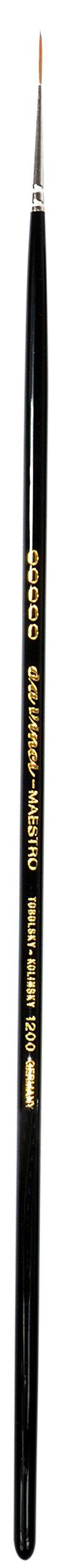 da Vinci Oil & Acrylic Series 1200 Maestro Rigger Brush, Medium-Length Sharp Needle-Point Kolinsky Red Sable with Black Polished Handle, Size 5/0