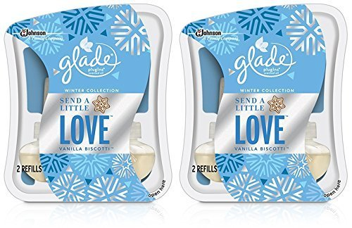 Glade Plugins Scented Oil Refill - Winter Collection 2015 - Send A Little Love - Vanilla Biscotti - Twin Refill Package - Net Wt. 1.34 FL OZ (39.6 mL) Each - by Glade