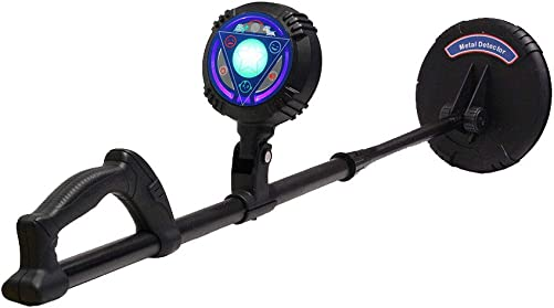 SuperEye Metal Detector for Kids with Waterproof 6 Inch Coil and LED Flash Light Metal Detector Lightweight Adjustable Stem 28 – 36 Kids Toys, Gifts Black