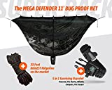 HAMMOCK BUG NET 11' Hammock Mosquito Net INSANE Insect Proof DENSITY – Fits ALL Camping Hammocks – Compact Lightweight – Fast Easy Setup – Size 132'' x 51'' – Choose 360 PROTECTION for 2 YEAR WARANTY