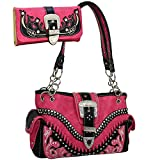 Western Embroidered Purse Rhinestone Buckle Accent Shoulder Bag & Matching Wallet - Fuchsia