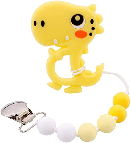 Biter teether Soft Silicone Beads Teether Necklace Chewable Wooden Beads Nursing Jewelry for Toddler Teething Pain Relief