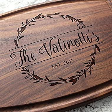 Rosemary Branch Round Garland Personalized Cutting Board - Engraved Cutting Board, Custom Cutting Board, Wedding Gift, Housewarming Gift W-040 GB