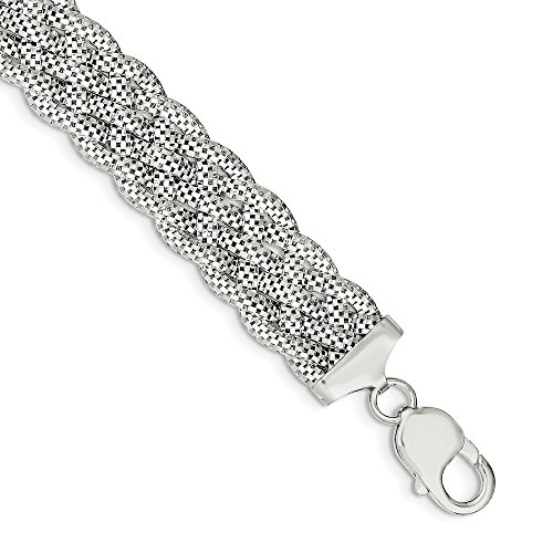 Solid 925 Sterling Silver Braided Bracelet 7.5'' - with Secure Lobster Lock Clasp (15mm) by Sonia Jewels