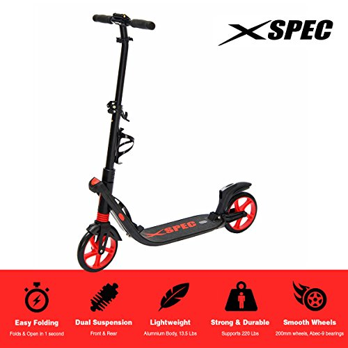 Xspec 923 Folding Adult Kick Street Scooter with Full Suspension and Rear Wheel Braking System, Supports 220 lbs, City Urban Commuter Street Push Scooter, Aluminum Frame, Matte Black and (Mens Scooter)