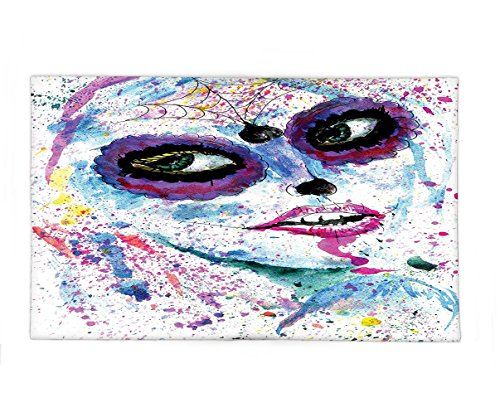 Interestlee Fleece Throw Blanket Girly Decor Grunge Halloween Lady with Sugar Skull Make Up Creepy Dead Face Gothic Woman Artsy Print Blue (Cheetah Face Print For Halloween)