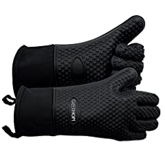 """Why choose GEEKHOM GRILLING GLOVES?  -The GEEKHOM Grilling gloves are up to 3"""" longer than typical barbecue gloves to protect your forearms. -Five Fingers Silicone Gloves With Cotton Inside.Double Protection And Comfortable. -Heat Resistant F..."""