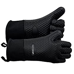 Geekhom Grilling Gloves Heat Resistant Gloves Bbq Kitchen Silicone Oven Mitts Long Waterproof Non Slip Potholder For Barbecue Cooking Baking Black