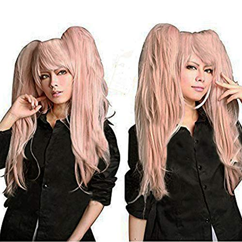 - Anogol Hair Cap + Ponytail Wig Pink Cosplay Wig Lolita Wig for Cosplay