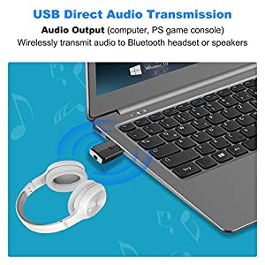 Isobel USB Bluetooth 5.0 Transmitter Receiver, 4-in-1 Mini Wireless Audio Adapter, 3.5mm Bluetooth AUX Adapter for TV PC Headphones Speakers Car/Home Stereo System, USB Power Supply (Color: black, Tamaño: Mimi)