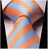 Secdtie Mens Classic Striped Orange Blue Jacquard Woven Silk Tie Formal Necktie