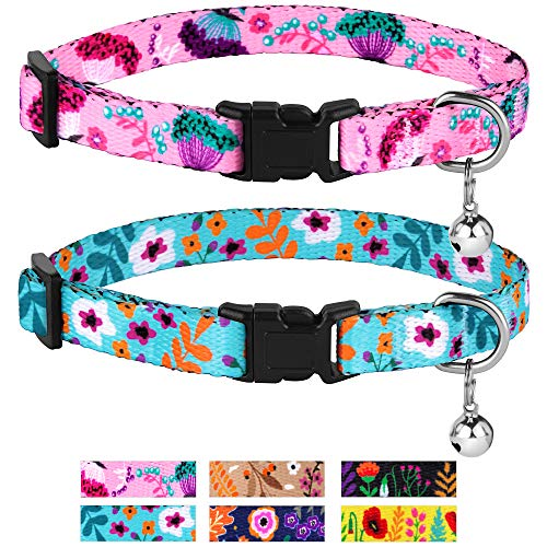 (CollarDirect Cat Collar Floral Pattern 2 PC Set Flower Adjustable Safety Breakaway Collars for Cats Kitten with Bell (Pink + Aquamarine))