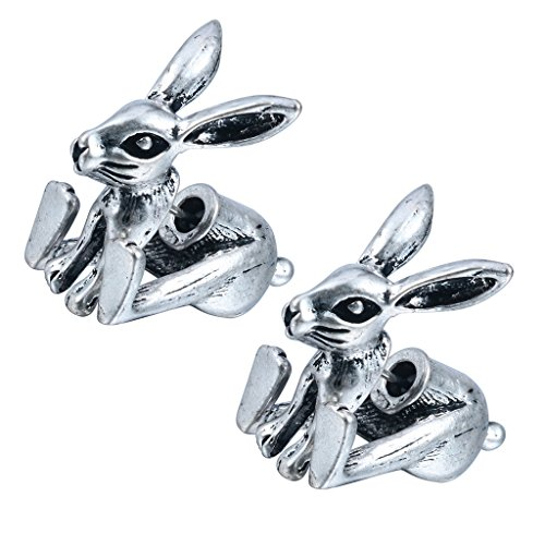 Fashion Cute 1Pairs Lovely 3d Fake Gauge Bunny Rabbit Animal Earrings Punk Jewelry for Women and Girls -