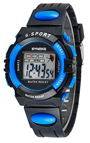 Water Resistant Digital Kids Sport Watches For 5-10 Years Old Boys Girls Black, Blue by Nairuy