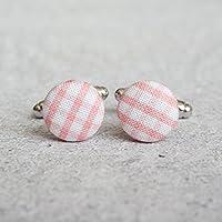 Pink Gingham Fabric Button Cufflinks