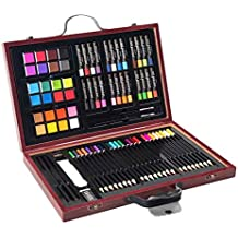 Goplus 80-piece Deluxe Art Set Drawing and Painting w/Wood Case & Accessories