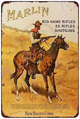 Custom Kraze Marlin Firearms Western Cowboy Reproduction Metal tin Sign 8 x 12