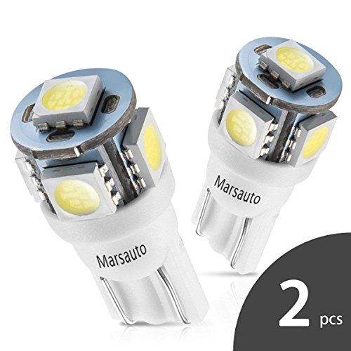 Marsauto 194 168 T10 2825 5SMD LED Bulbs Car Dome Map License Plate Lights Lamp White 12V (Pack of 2)