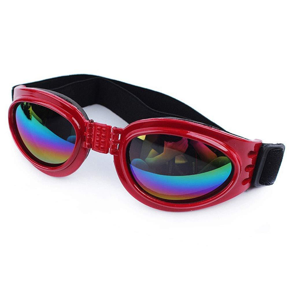 Dog Goggles, Pet Glasses, Collapsible Pet Dog Sunglasses UV Predection Windproof Dustproof Multicolor Optional Pet Dog Glasses,Red