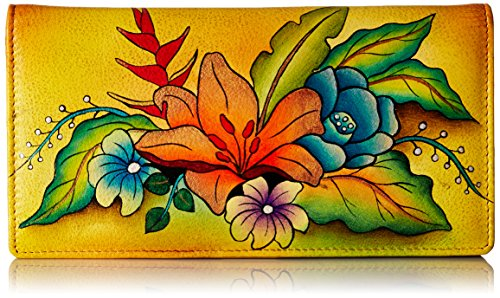 Anna by Anuschka Clutch Wallet | Genuine Leather | Tropical Bouquet Yellow