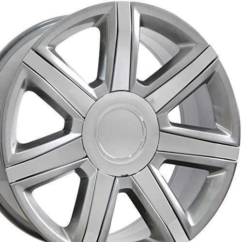 OE Wheels 22 Inch Fits Chevy Silverado Tahoe GMC Sierra Yukon Cadillac Escalade Style CA87 22x9 Rims Hyper Silver with Chrome SET
