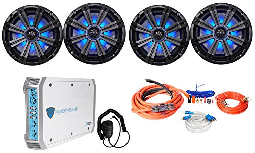 "Kicker  45KM84L 8"" 1200w Marine Boat Speakers w/LED's+4-Ch A"