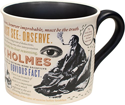 Sherlock Holmes Coffee Mug - Holmes quotes, rules of deduction, intriguing images, and Sidney Pagets' portrait - Comes in a Fun Gift (Portrait Gift Box)